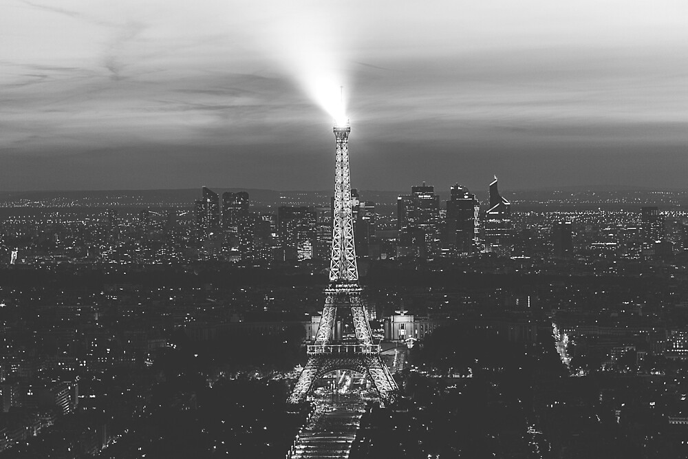 Black and White Image of The Eiffel Tower Paris France by PartridgeLane