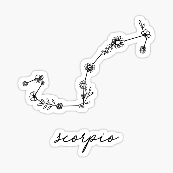 Scorpio Zodiac Wildflower Constellation Sticker