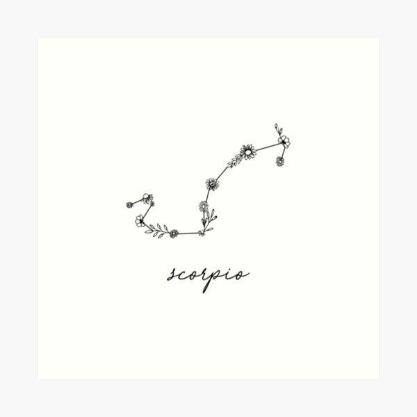 Scorpio Zodiac Wildflower Constellation Art Print