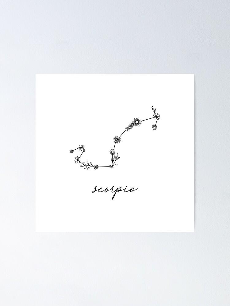 Alternate view of Scorpio Zodiac Wildflower Constellation Poster