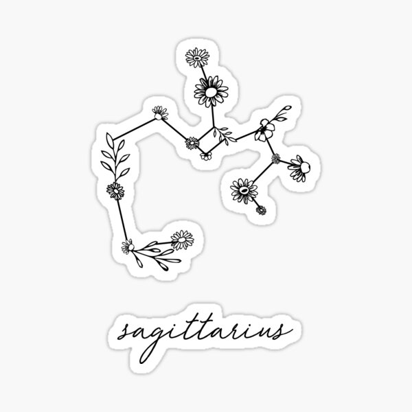 Sagittarius Zodiac Wildflower Constellation Sticker