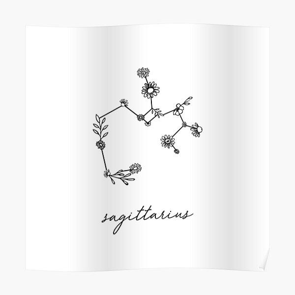 Sagittarius Zodiac Wildflower Constellation Poster