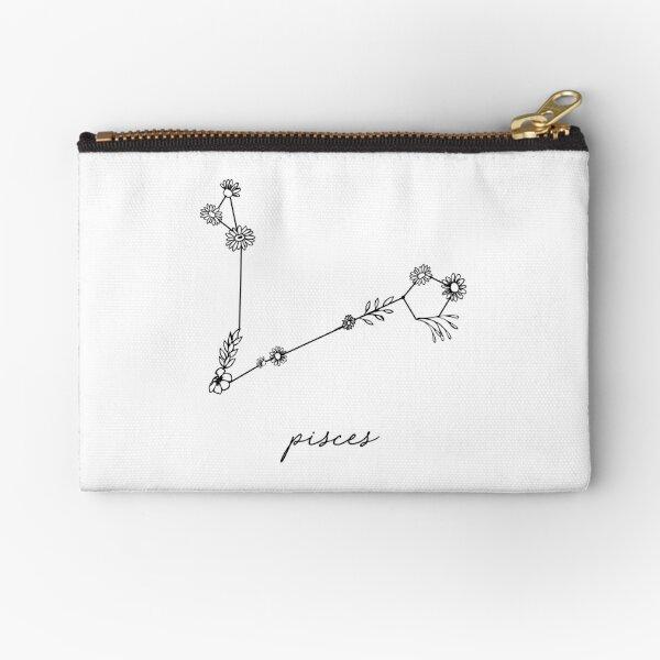 Pisces Zodiac Wildflower Constellation Zipper Pouch