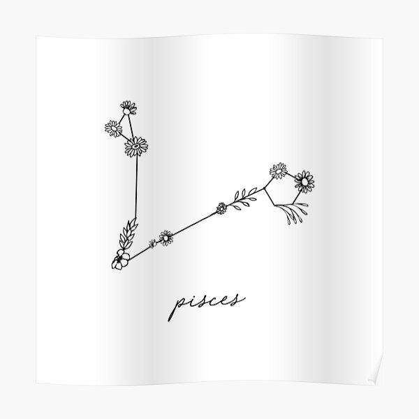 Pisces Zodiac Wildflower Constellation Poster