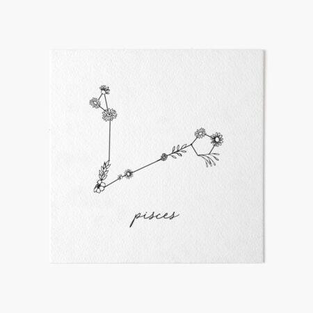 Pisces Zodiac Wildflower Constellation Art Board Print