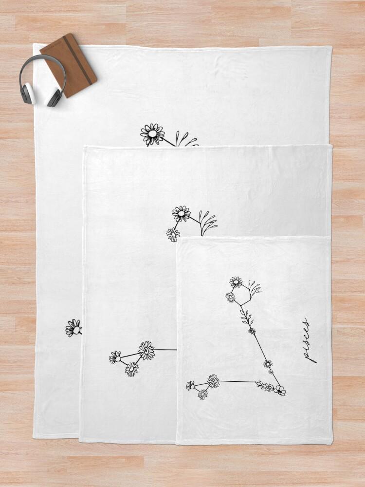 Alternate view of Pisces Zodiac Wildflower Constellation Throw Blanket
