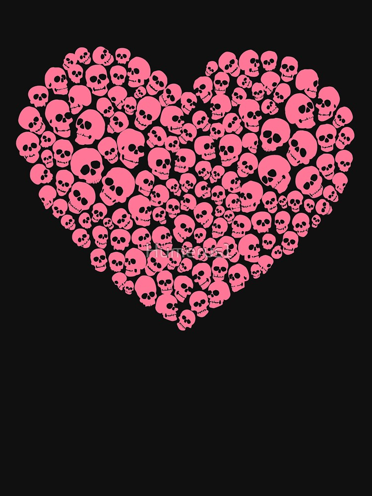 Pink Heart Skulls Funny Valentine's Day by Humerus1
