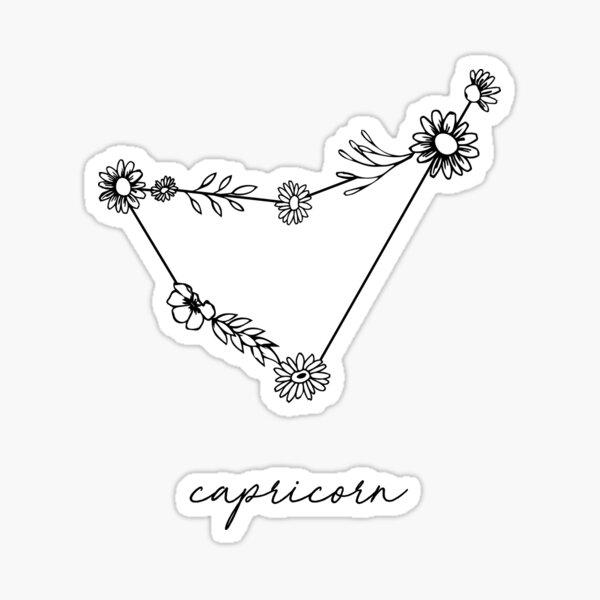 Capricorn Zodiac Wildflower Constellation Sticker