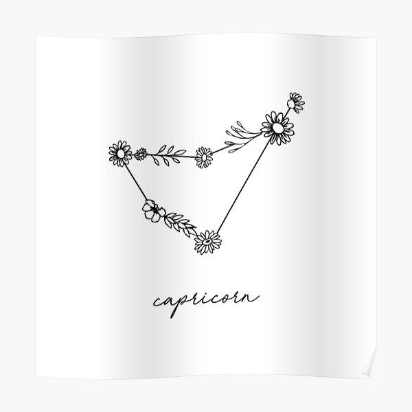 Capricorn Zodiac Wildflower Constellation Poster