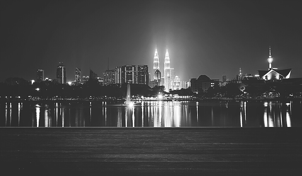 Cityscape of Kuala Lumpur in Black and White by PartridgeLane