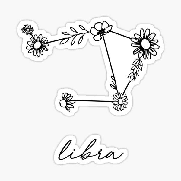 Libra Zodiac Wildflower Constellation Sticker