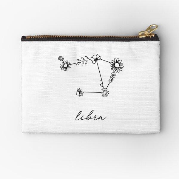 Libra Zodiac Wildflower Constellation Zipper Pouch