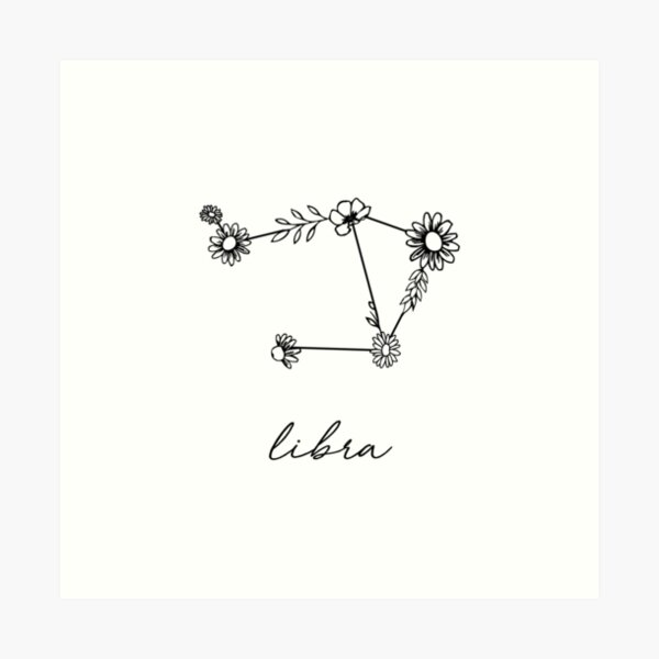 Libra Zodiac Wildflower Constellation Art Print