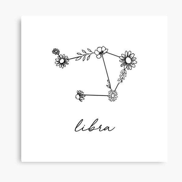Libra Zodiac Wildflower Constellation Metal Print