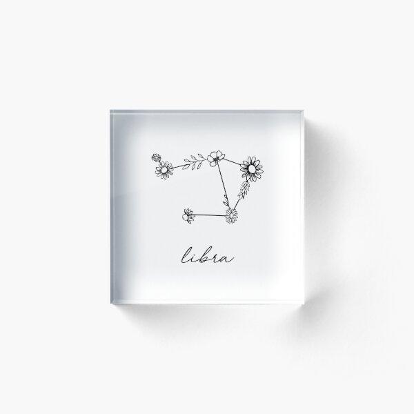 Libra Zodiac Wildflower Constellation Acrylic Block