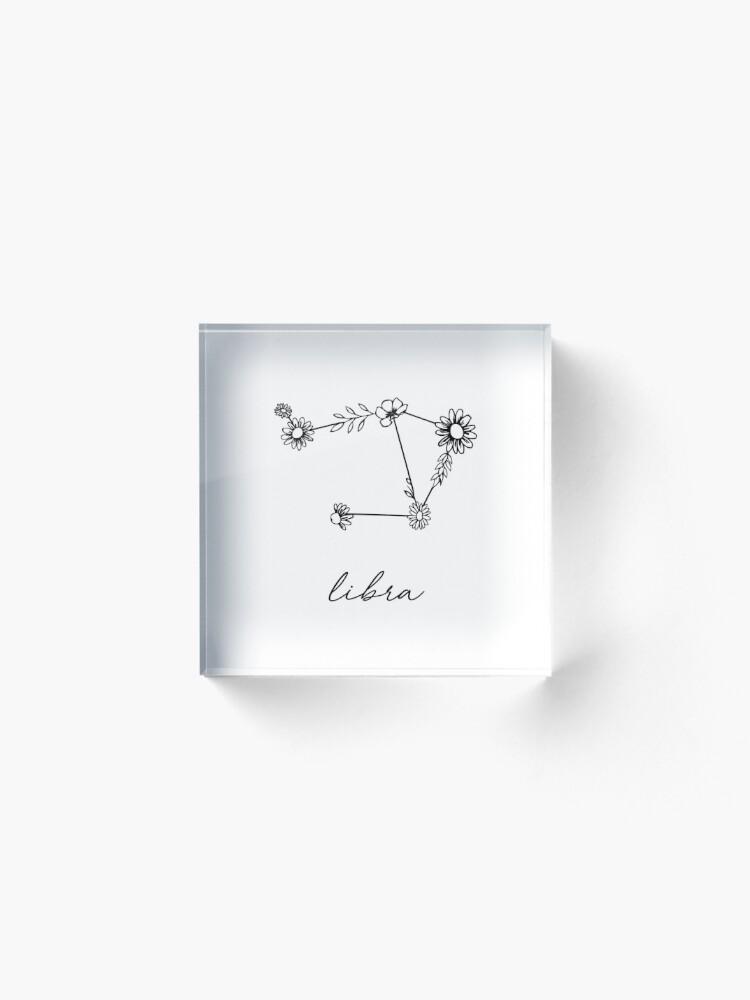 Alternate view of Libra Zodiac Wildflower Constellation Acrylic Block