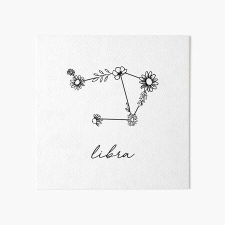 Libra Zodiac Wildflower Constellation Art Board Print