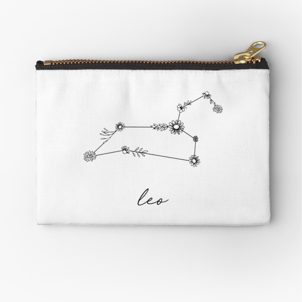 Leo Zodiac Wildflower Constellation Zipper Pouch