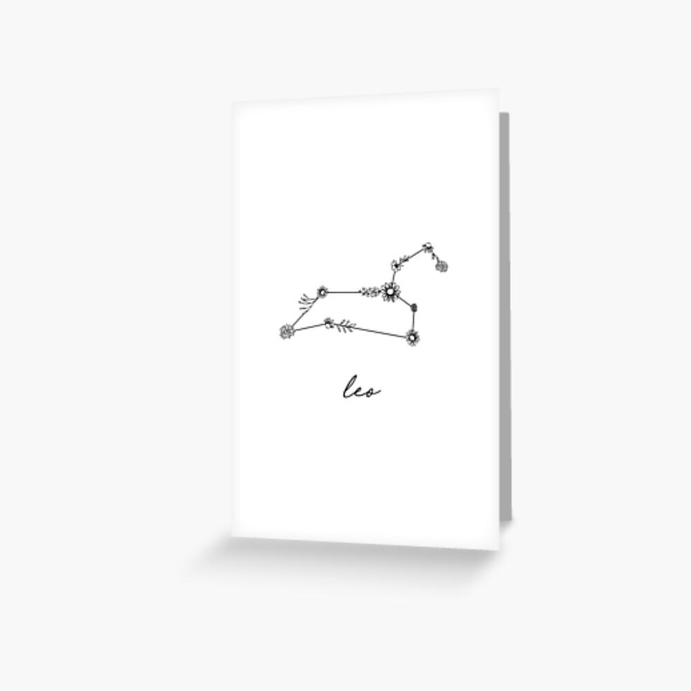 Leo Zodiac Wildflower Constellation Greeting Card