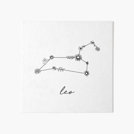 Leo Zodiac Wildflower Constellation Art Board Print