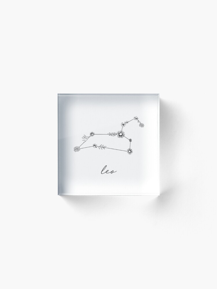 Alternate view of Leo Zodiac Wildflower Constellation Acrylic Block