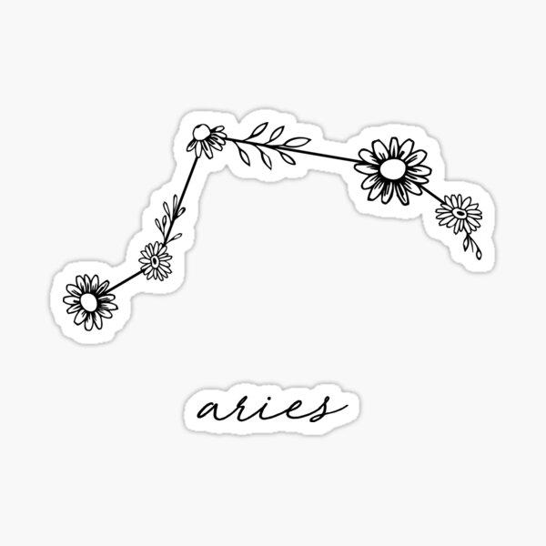 Aries Zodiac Wildflower Constellation Sticker