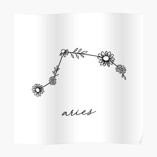 Aries Zodiac Wildflower Constellation Poster