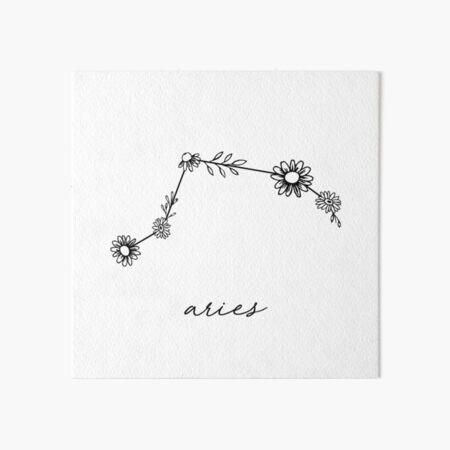 Aries Zodiac Wildflower Constellation Art Board Print