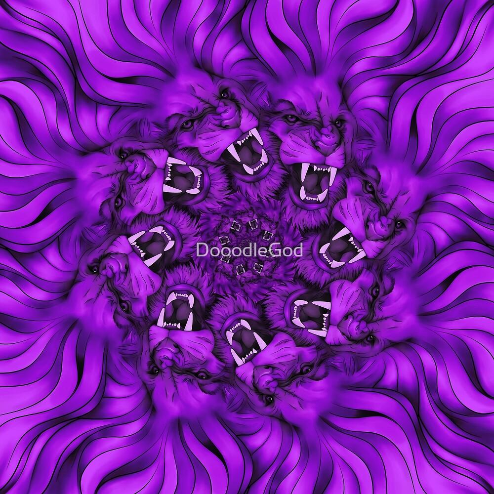 Pride of Lions Proud design Purple Colored Lion Roar Loudly Cat Mandala Art by DooodleGod