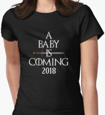 A Baby is Coming 2018 to the Royal Throne Sword Women's Fitted T-Shirt