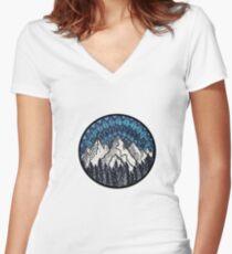 Mountain Mandala Women's Fitted V-Neck T-Shirt
