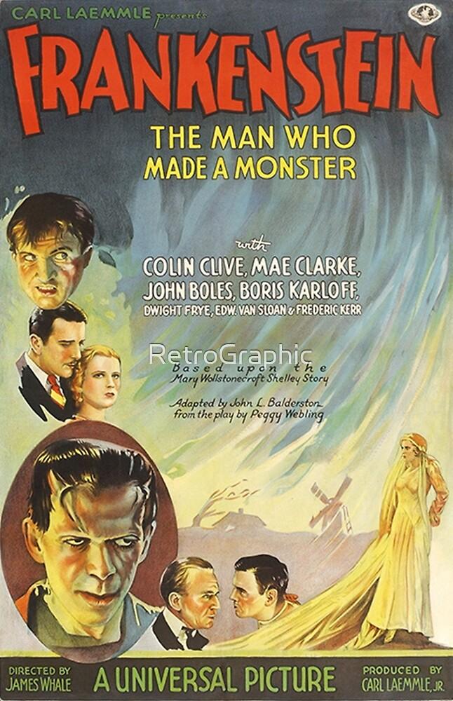 Frankenstein Vintage Movie Poster  by RetroGraphic