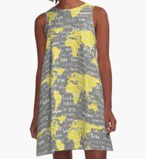 Hello World Languages Gray Yellow A-Line Dress
