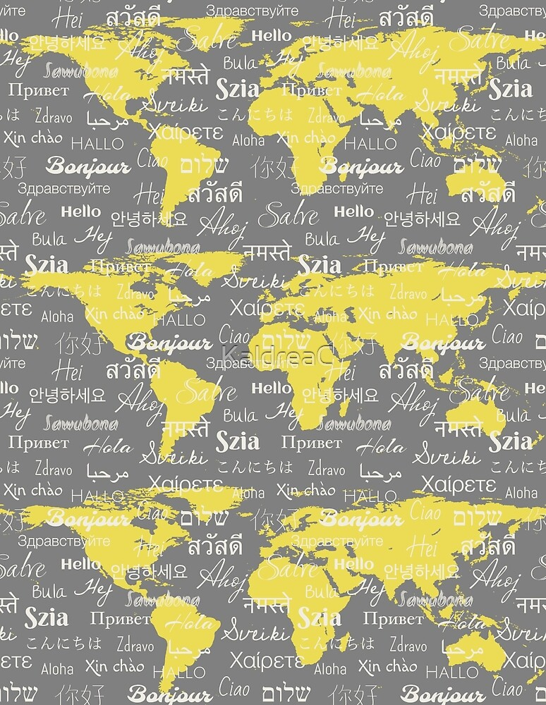 Hello World Languages Gray Yellow by KaldreaC