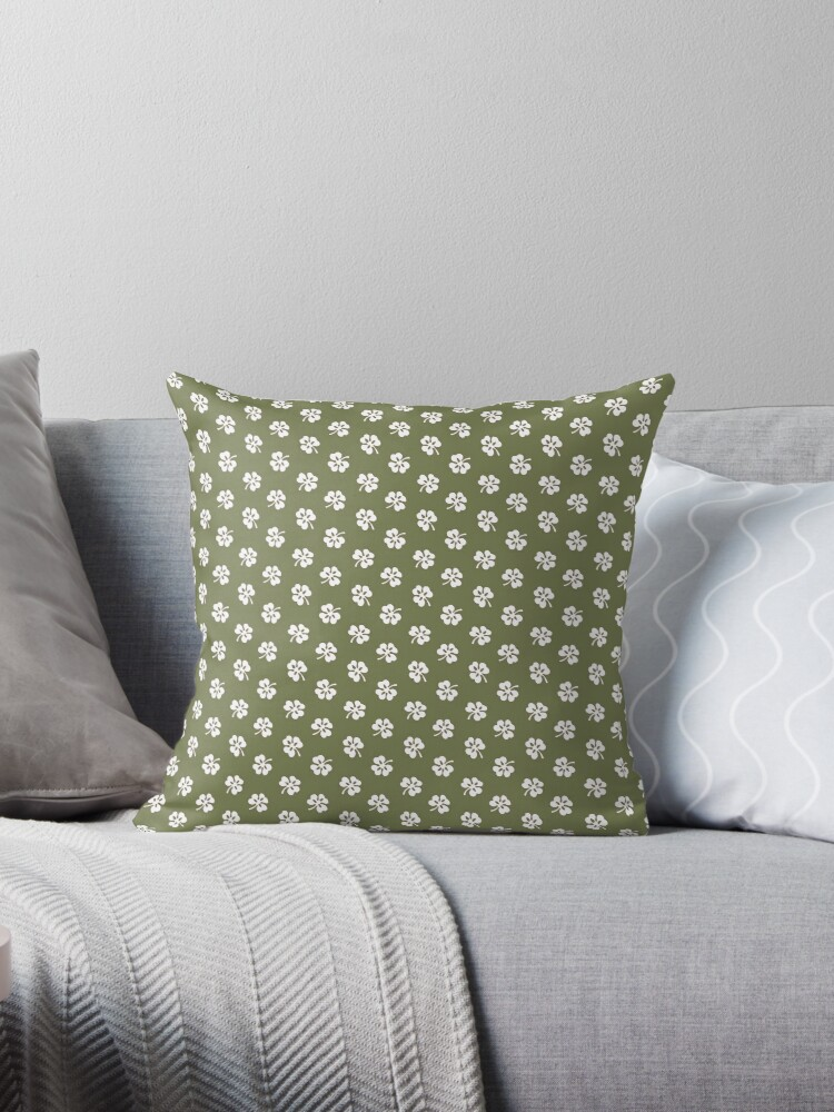 White Clover on Green Retro Pattern by coverinlove