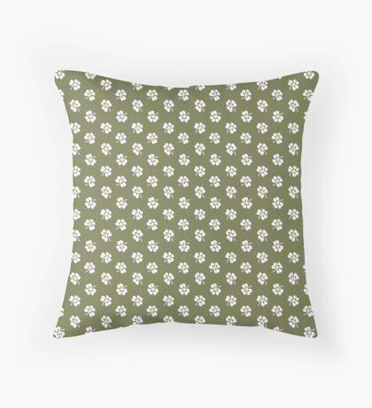 White Clover on Green Retro Pattern Throw Pillow