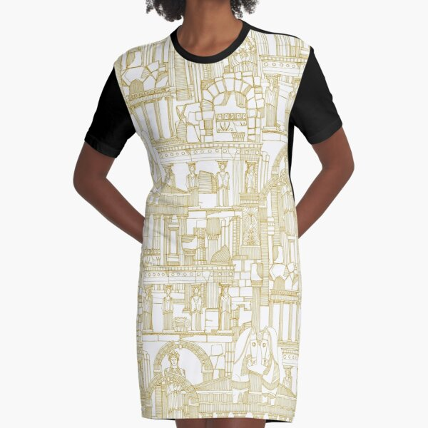 Ancient Greece gold white Graphic T-Shirt Dress