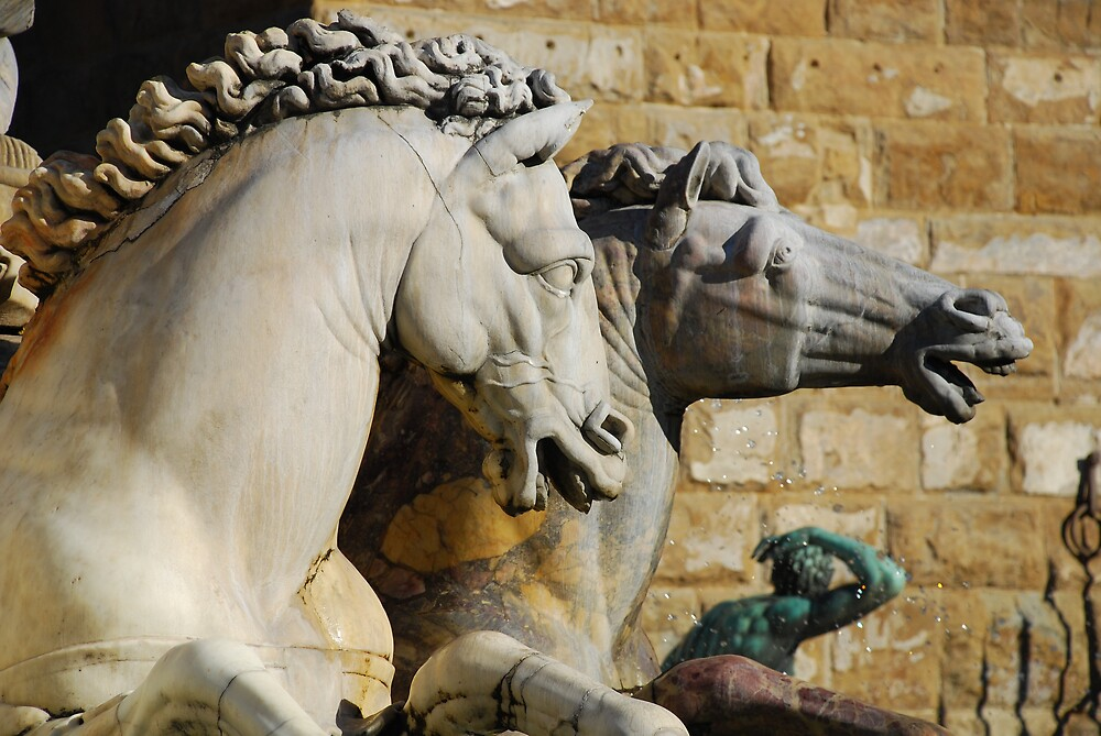 Horses from Neptune Statue, Florence by jojobob