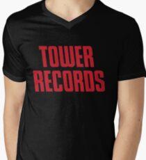 TOWER RECORDS TSHIRT - Defunct Record Store Logo Men's V-Neck T-Shirt