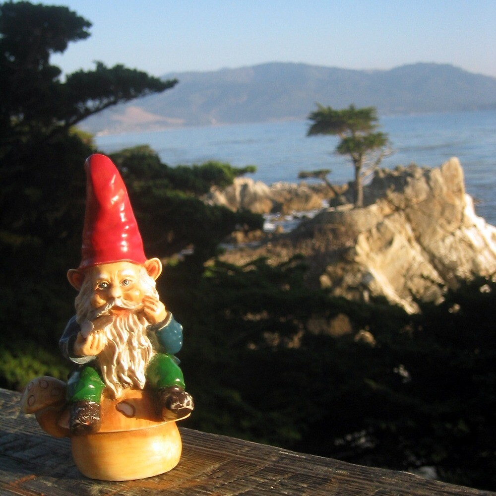 Gnome with Monterey's Lone Cypress by johncarleton