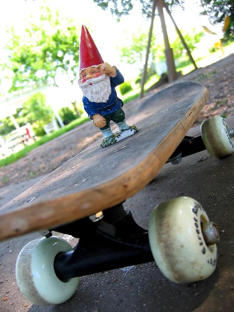 Gnome on a skateboard by johncarleton