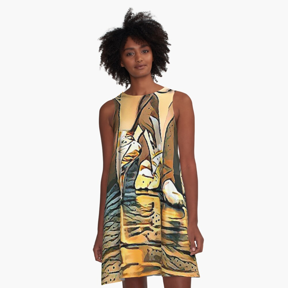 Ballet of Gold, Copper and Silver A-Line Dress Front