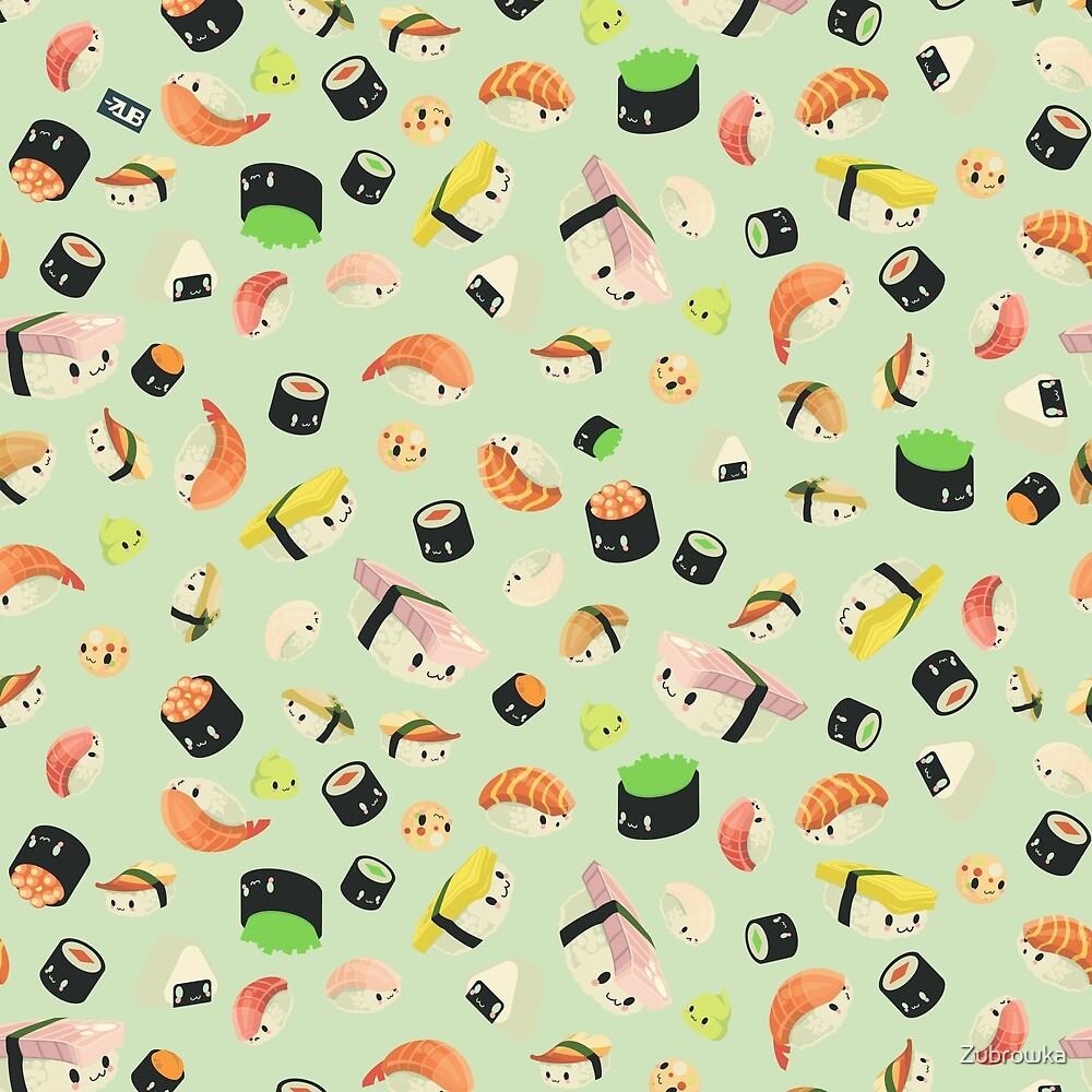 KAWAII SUSHI // <3 SUSHI // PATTERNED GREEN  by Zubrowka