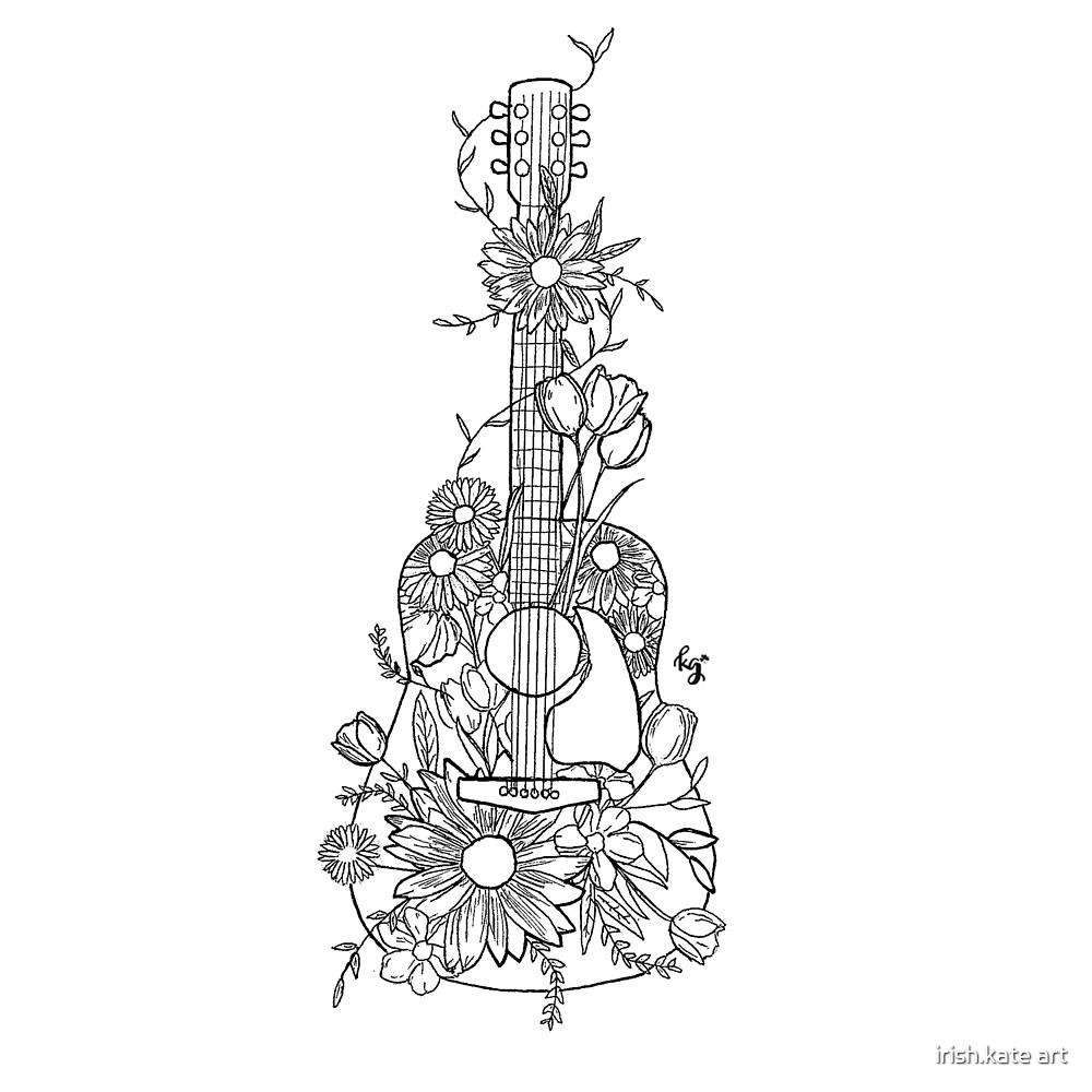 Johnny & June Floral Guitar by irish.kate art