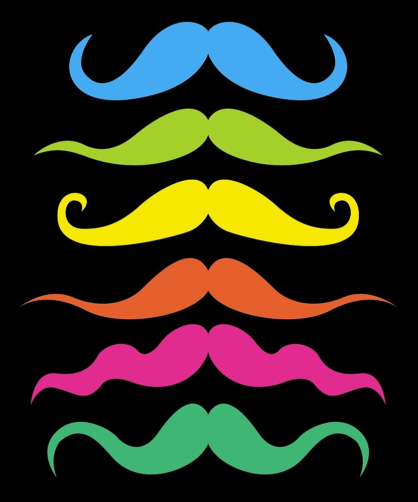 Colorful Different Types of Mustache Set by printedkicks