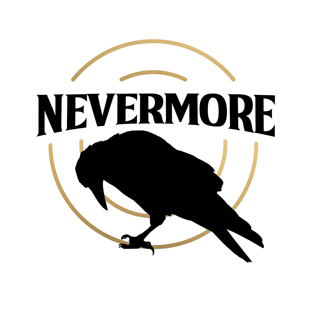"""Quoth the Raven, """"NEVERMORE"""" Edgar Allan Poe NEVERMORE logo black gold  by starkle"""
