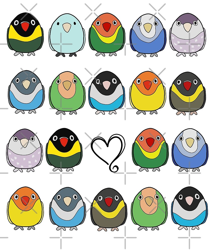 Valentine's Day Lovebird Flock by VivianRosalee