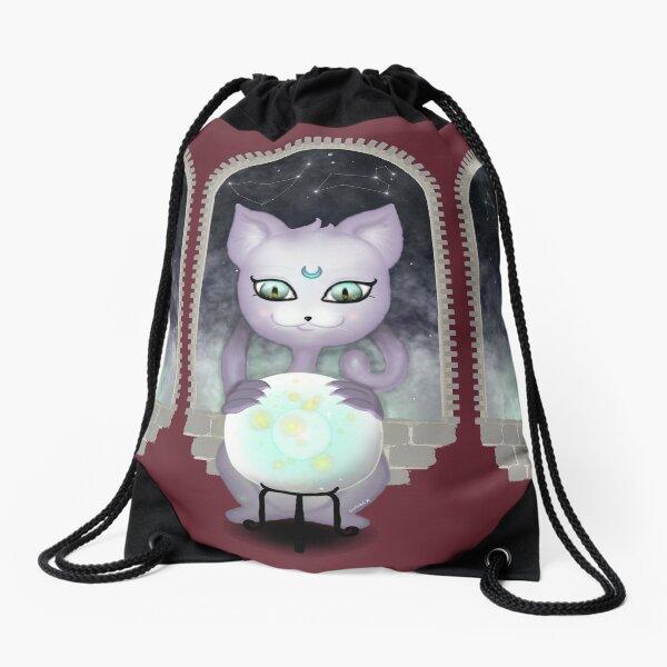 Mystic Miku | Crystal Ball & Zodiac | Wine Red Drawstring Bag