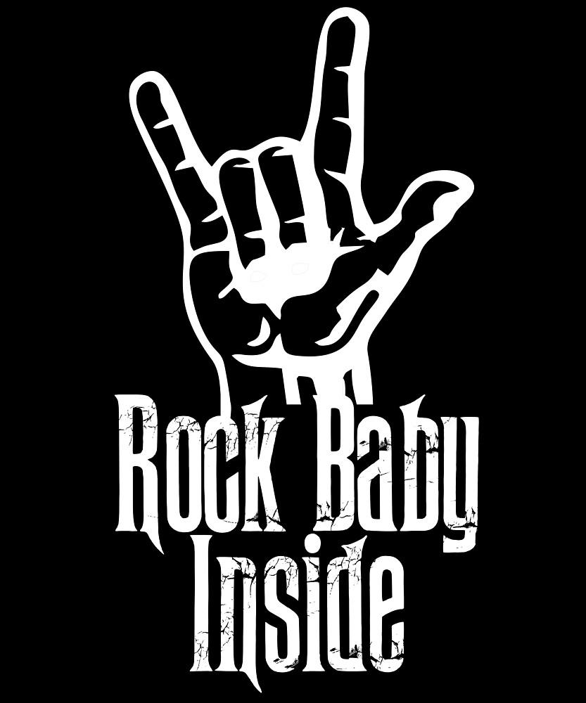 Rock Baby Inside Rock n Roll Metal Hand Sign by printedkicks