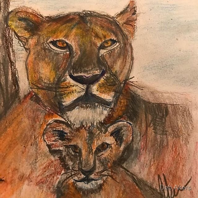 Lioness and Cub by Deb Akers